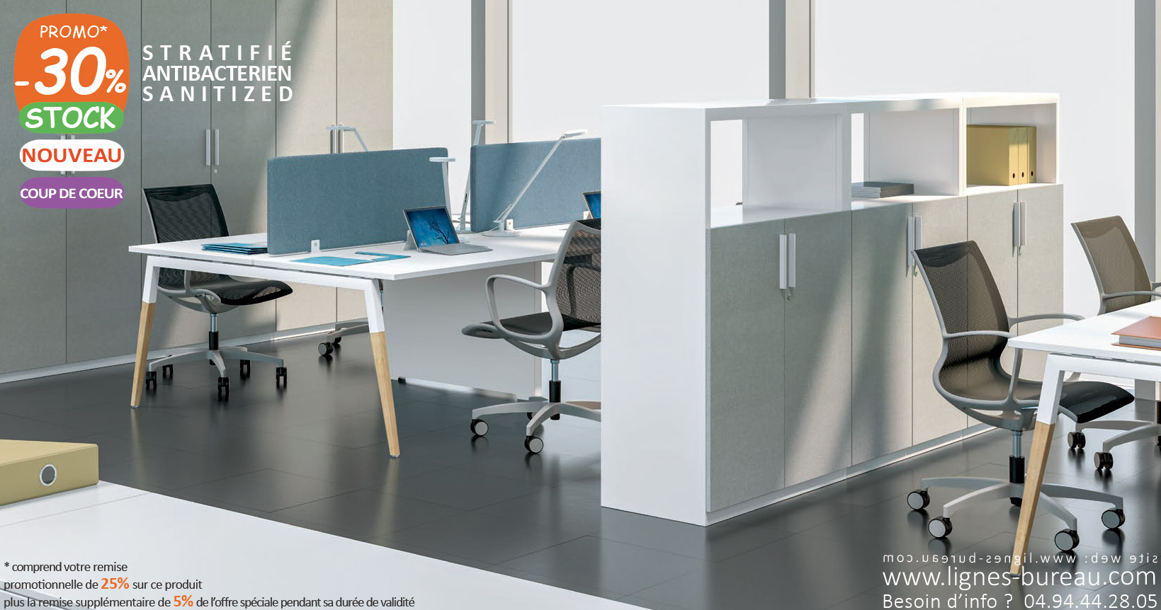 Bureau 4 personnes pour open space coworking: design scandinave