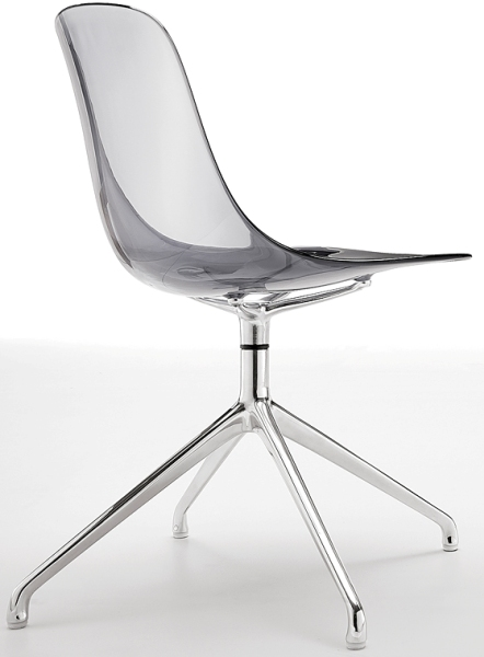 Chaise design transparente polycarbonate chrome seventies - Chaises visiteurs design ...