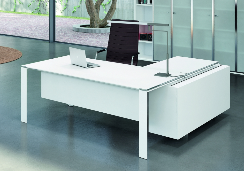 Bureau de direction design blanc contemporain seven