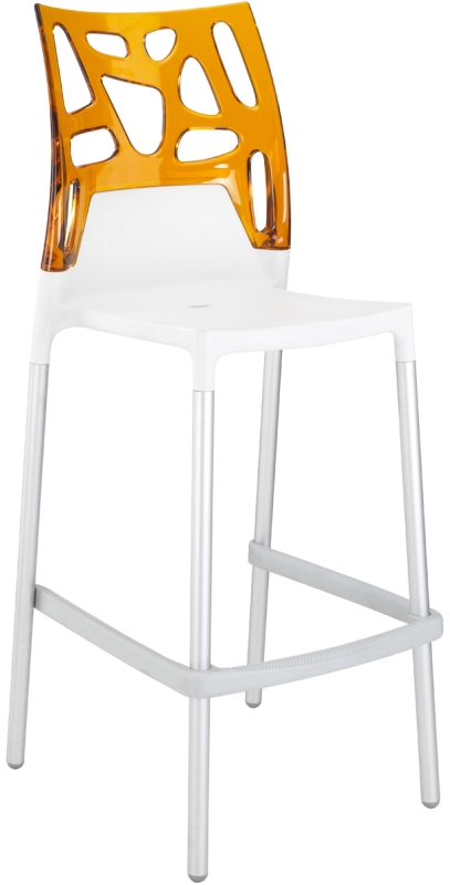 Chaise haute de bar avec dossier orange transparent design nommé bio